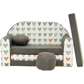 Kinder Sofa Grey hearts, Welox