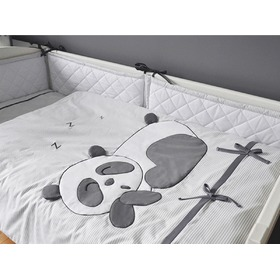 Kinder 2-teilige Bettbezug Panda - grey