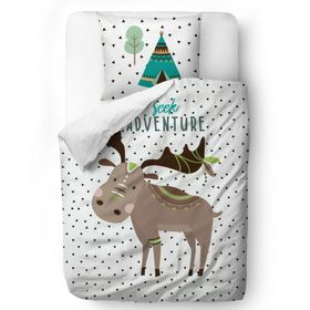 Herr. Little Fox Bedding Moose - Decke: 135 x 200 cm Kissen: 60 x 50 cm, Mr. Little Fox