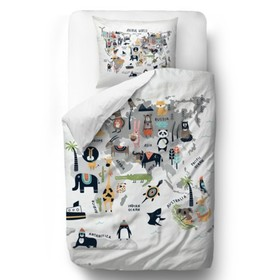 Herr. Little Fox Bedding Animal World - Steppdecke: 135 x 200 cm Kissen: 60 x 50 cm, Mr. Little Fox