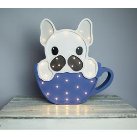 Holzleuchte LED für Kinder BULLDOGGE IN DER TASSE - blau, Lights My Love
