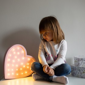 Kinder-Holzleuchte LED HERZ - rosa, Lights My Love